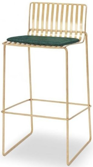 Floriston Conifer Green Woven Fabric and Brass Brushed Bar Stool