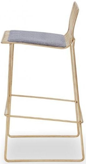 Floriston Pewter Woven Fabric and Brass Brushed Bar Stool