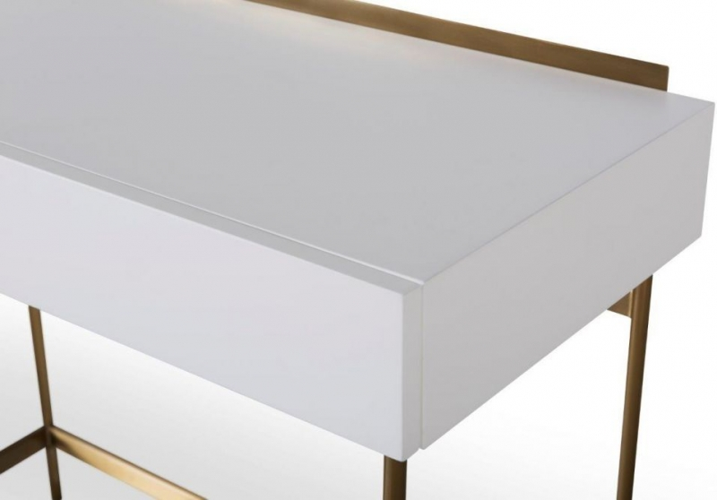 Alberto White Matt Lacquer and Brass Brushed Dressing Table