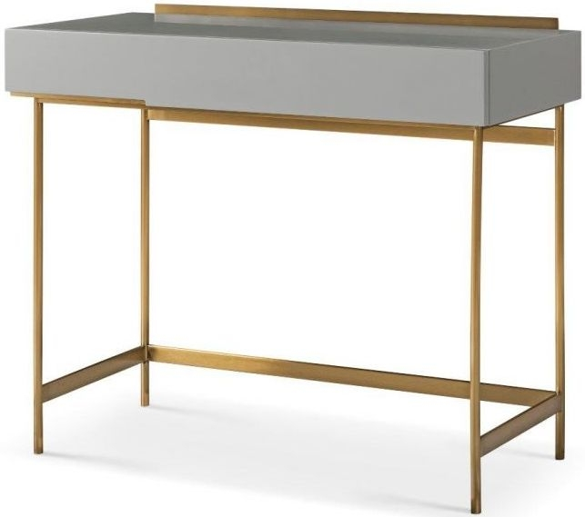 Alberto Grey Matt Lacquer and Brass Brushed Dressing Table