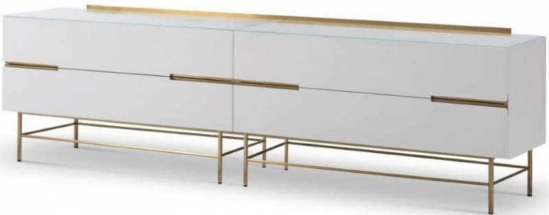 Alderton White Matt Lacquer and Brass Brushed 4 Drawer Low Sideboard