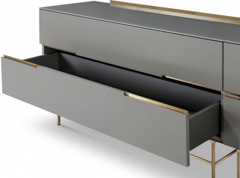 Alderton Grey Matt Lacquer and Brass Brushed 4 Drawer Low Sideboard