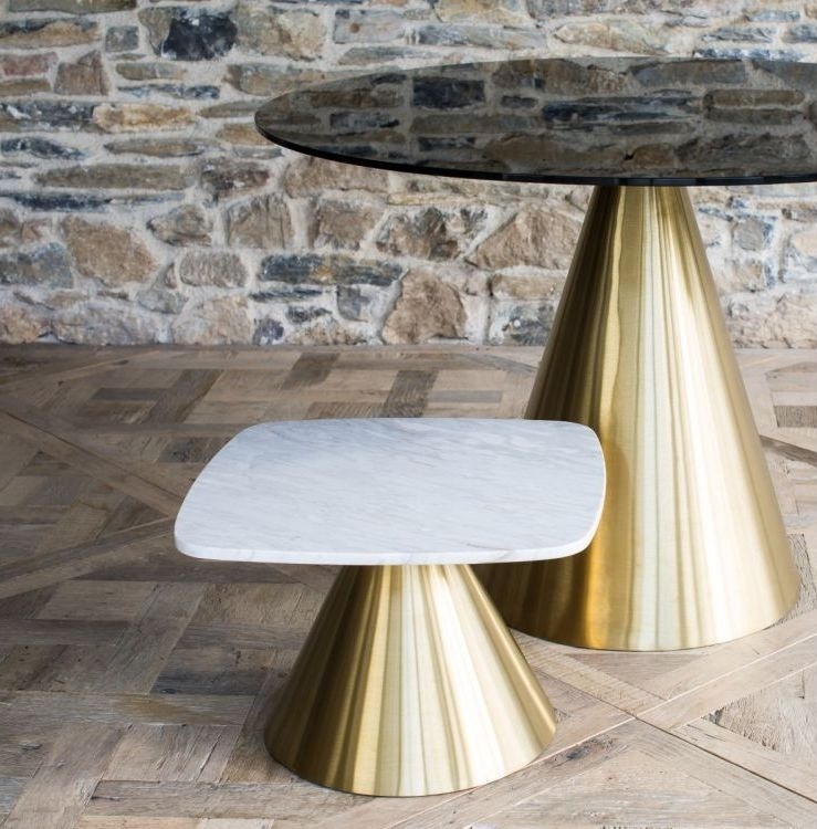Maida White Marble 80cm Small Round Dining Table with Brass Brushed Conical Base