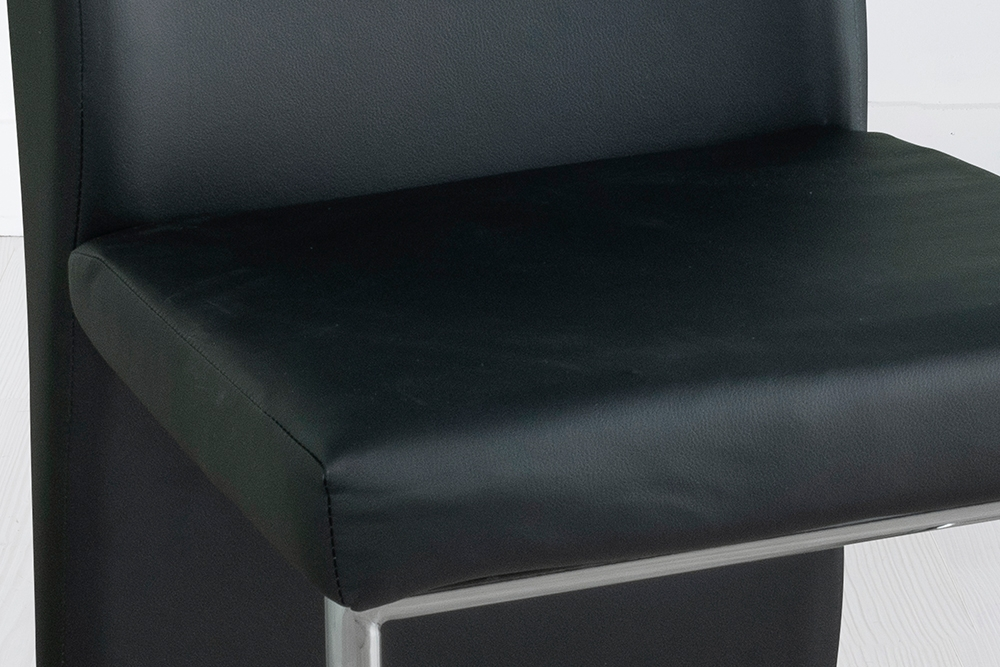 Enzo Black Leather Dining Chair with Brushed Stainless Steel Base