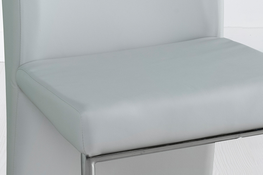 Enzo Grey Leather Dining Chair with Brushed Stainless Steel Base