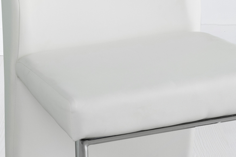 Enzo Cream Leather Dining Chair with Brushed Stainless Steel Base