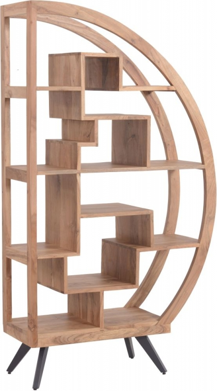 Urban Retro Acacia Wood Half Round Bookcase