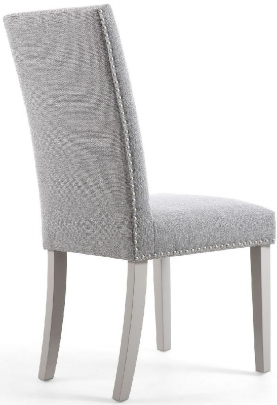 Shankar Randall Tweed Silver Grey Fabric Studded Accent Dining Chair with Grey Legs (Pair)