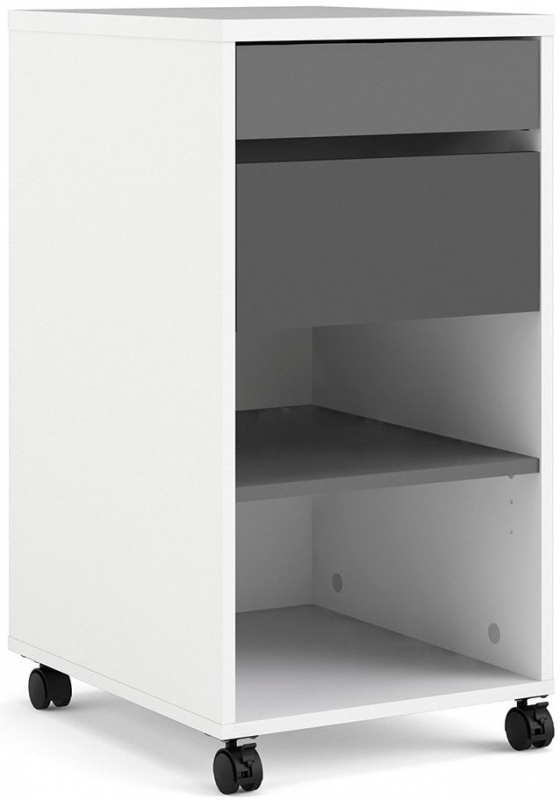 Function Plus White and Grey 2 Drawer Filing Cabinet