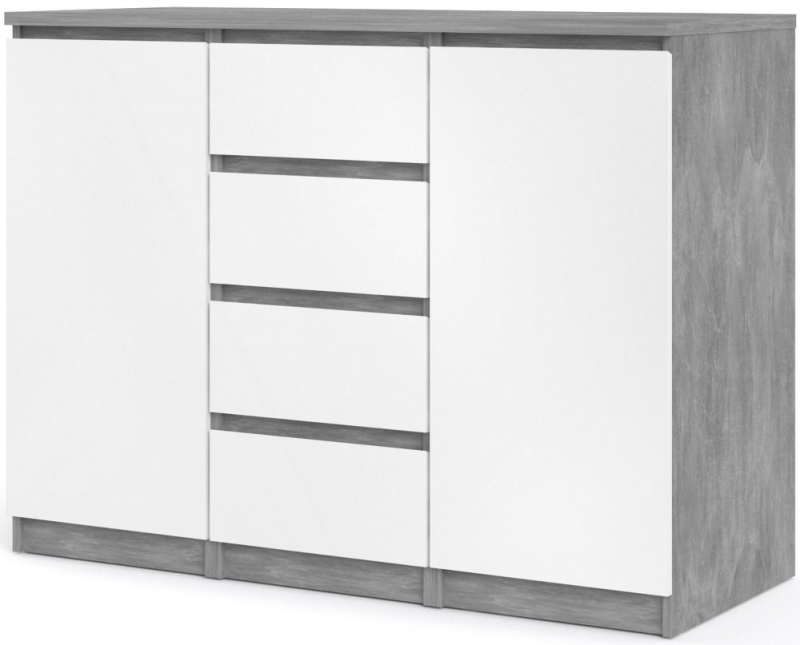 Naia Concrete and White High Gloss 2 Door 4 Drawer Sideboard