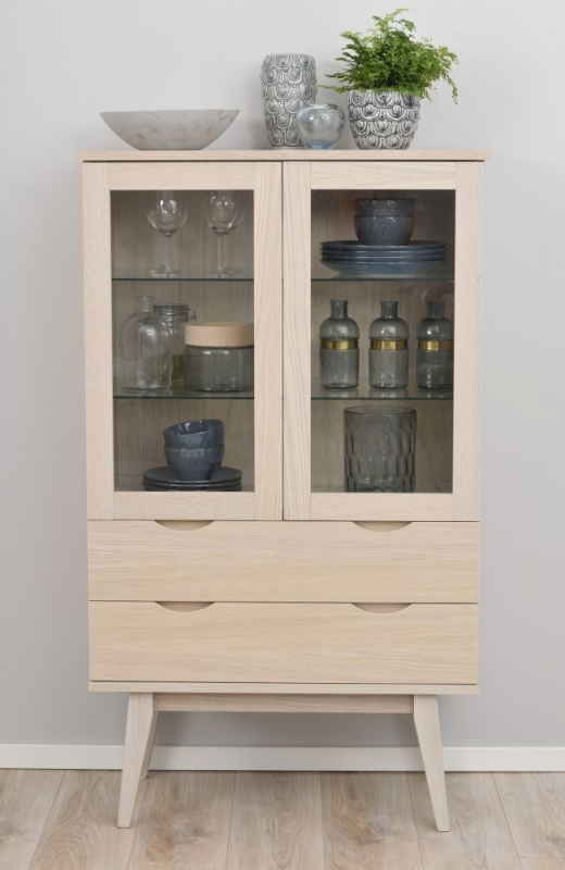 Rowico Filippa Whitewash Glass Display Cabinet