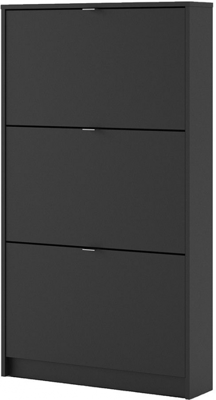 Shoes Matt Black 3 Tilting Door Shoe Cabinet