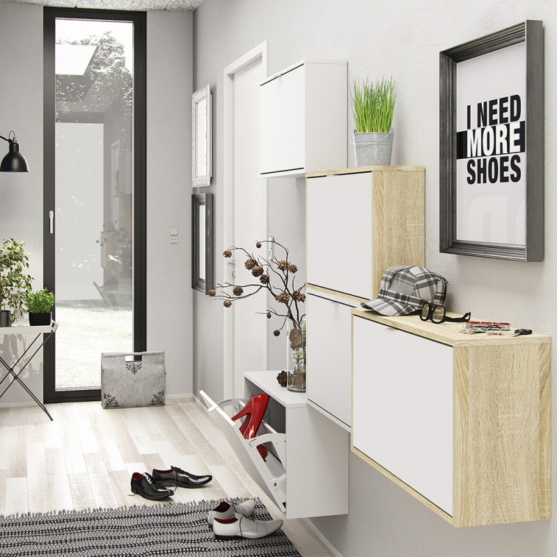 Shoes White 1 Tilting Door and 2 Layer Shoe Cabinet