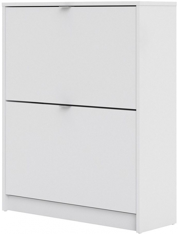 Shoes White 2 Tilting Door and 2 Layer Shoe Cabinet