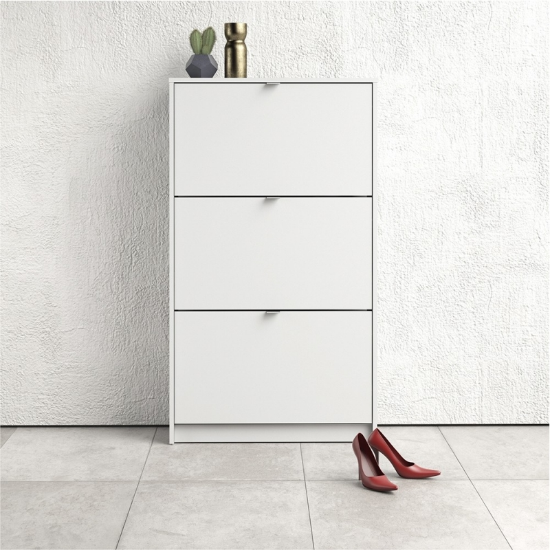 Shoes White 3 Tilting Door and 2 Layer Shoe Cabinet