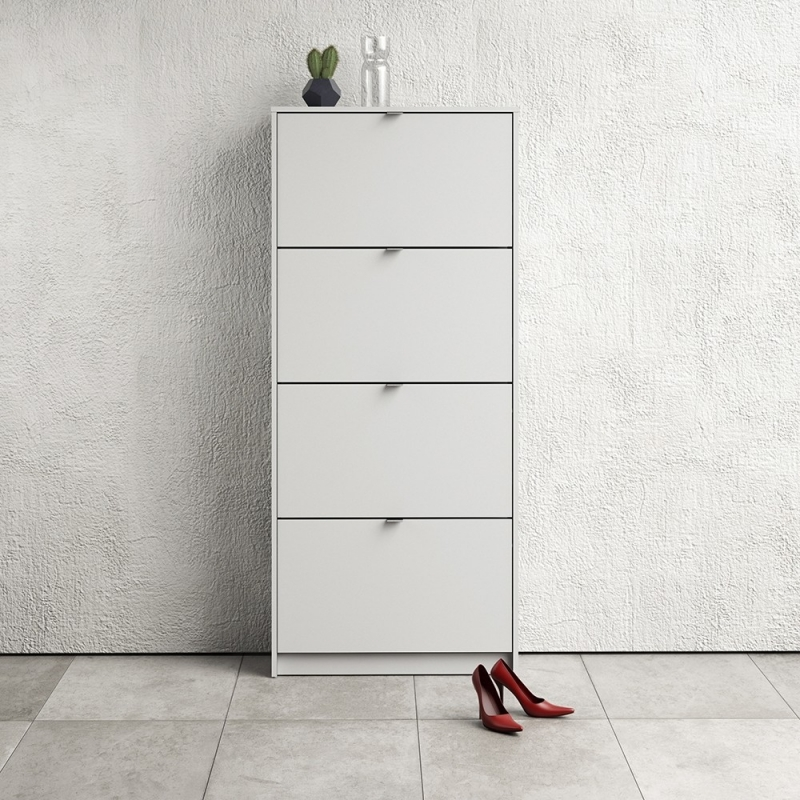 Shoes White 4 Tilting Door and 2 Layer Shoe Cabinet