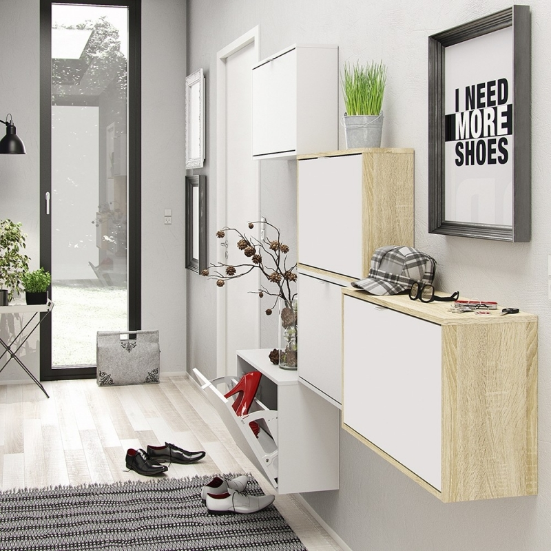 Shoes Oak and White 4 Tilting Door and 2 Layer Shoe Cabinet