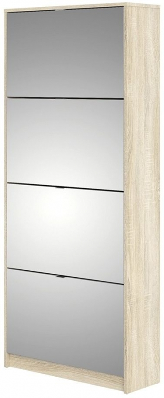 Shoes Oak and White High Gloss 4 Mirror Tilting Door Shoe Cabinet