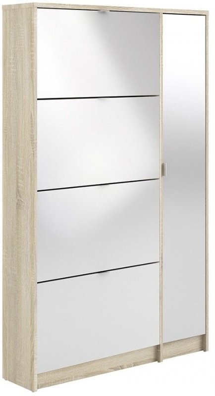 Shoes Oak and White High Gloss 4 Tilting Door Shoe Cabinet