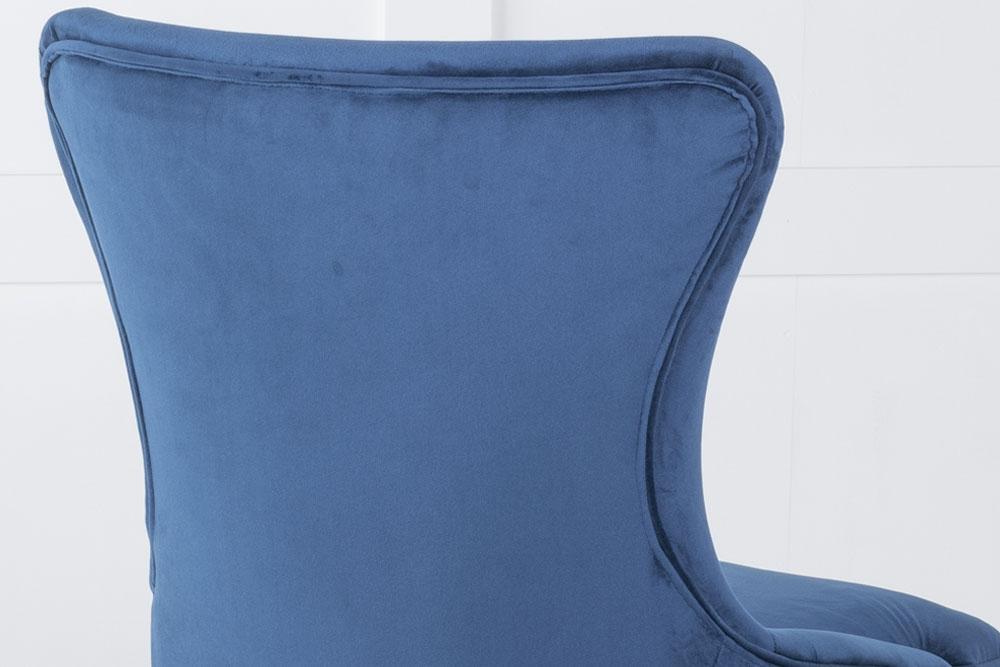Mason Blue Velvet Padded Dining Chair with Black Legs