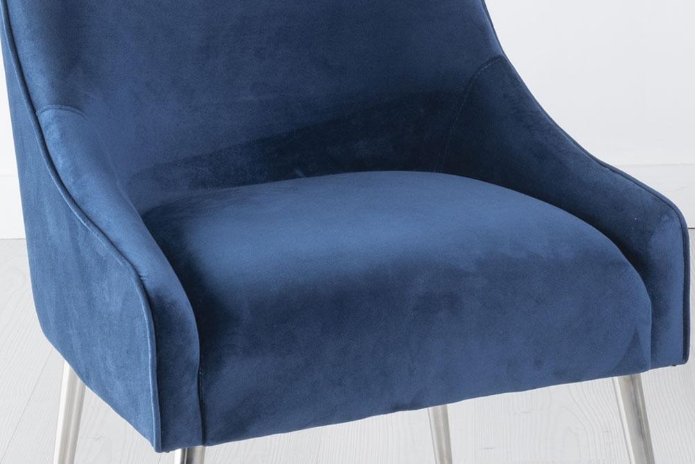 Giovanni Blue Velvet Back Handle Dining Chair with Chrome Legs