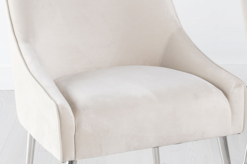 Giovanni Champagne Velvet Back Handle Dining Chair with Chrome Legs