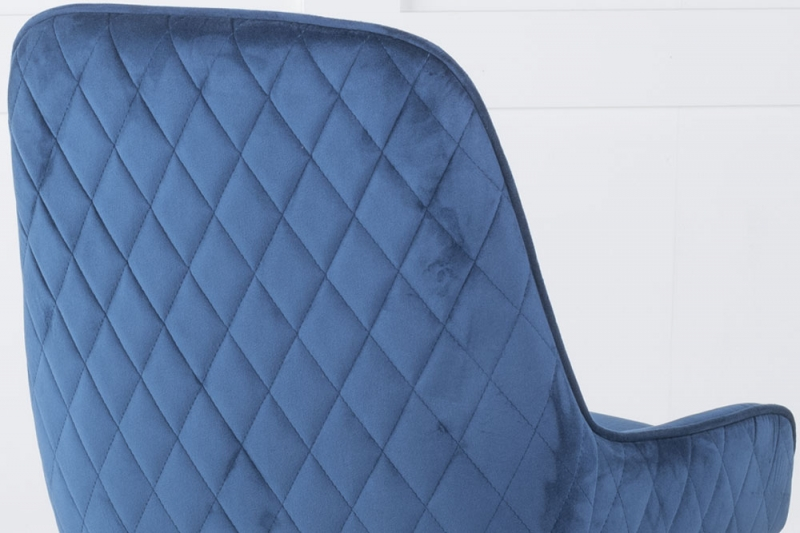 Hamilton Blue Velvet Back Quilted Dining Chair with Chrome Legs