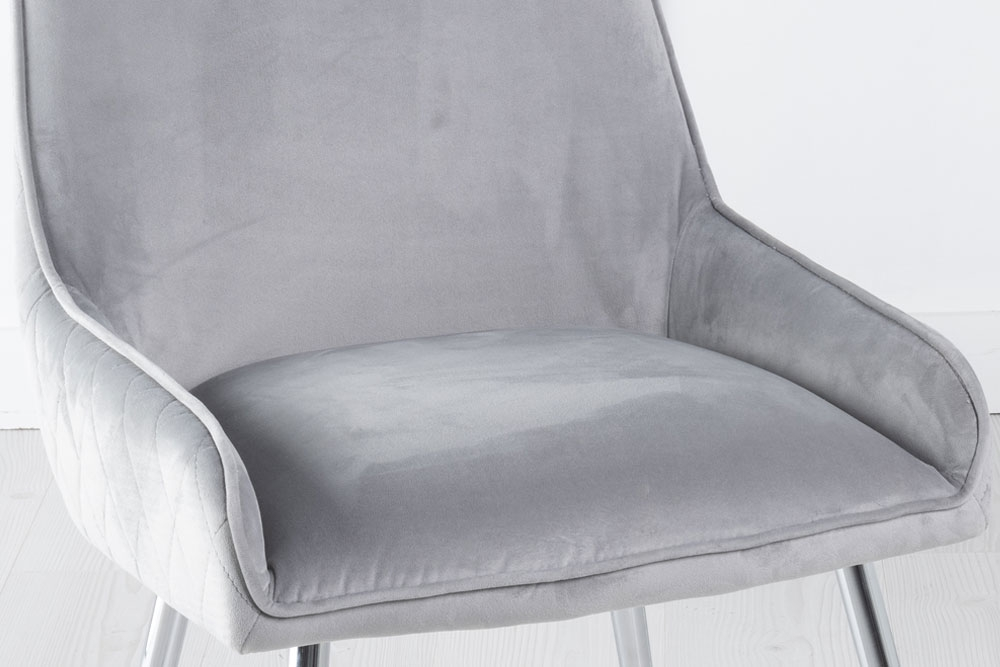 Hamilton Light Grey Velvet Back Quilted Dining Chair with Chrome Legs