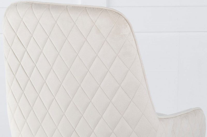 Hamilton Champagne Velvet Back Quilted Dining Chair with Chrome Legs
