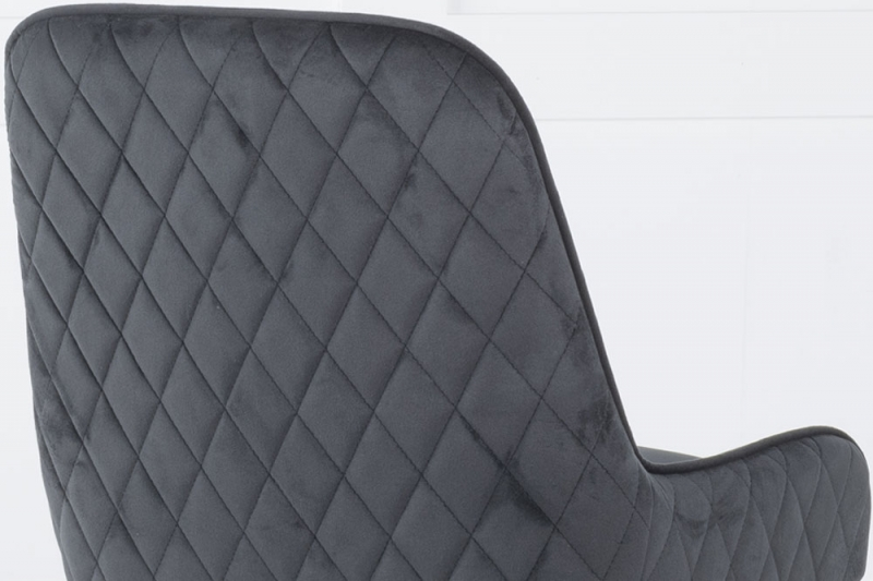 Hamilton Black Velvet Back Quilted Dining Chair with Chrome Legs