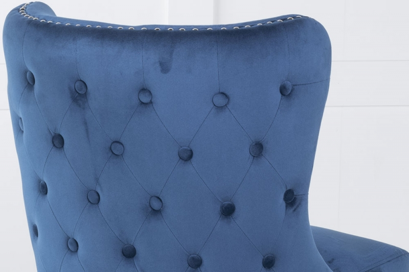 Vera Blue Velvet Back Tufted Dining Chair with Black Legs