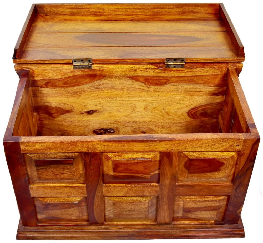 Ganga Indian Sheesham Wood 6 Drawer Storage Trunk Coffee Table