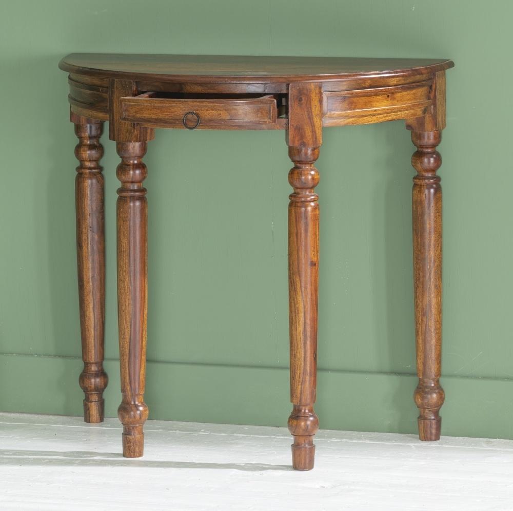 Ganga Indian Sheesham Wood Half Moon Console Table