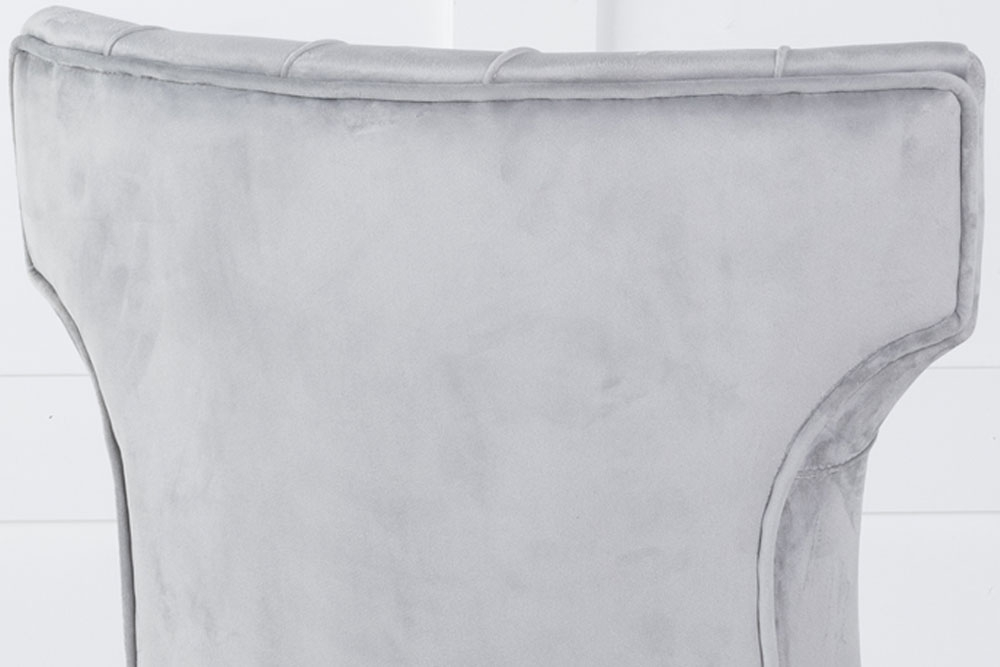 Courtney Upholstered Dining Chair / Black legs - Luxurious Light Grey Velvet