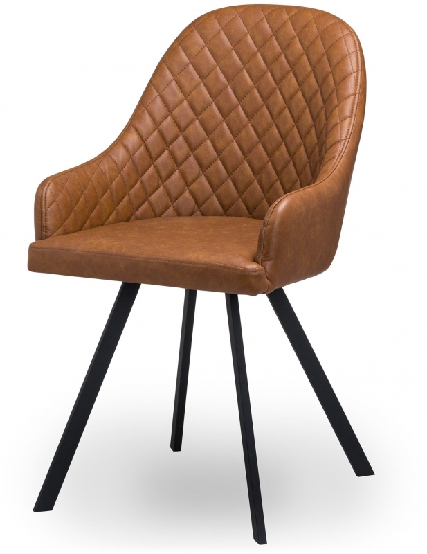 Hill Interiors Stockholme Brown Faux Leather Dining Chair (Pair)