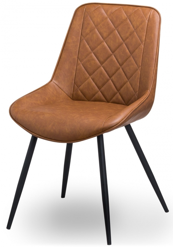 Hill Interiors Oslo Brown Faux Leather Dining Chair (Pair)