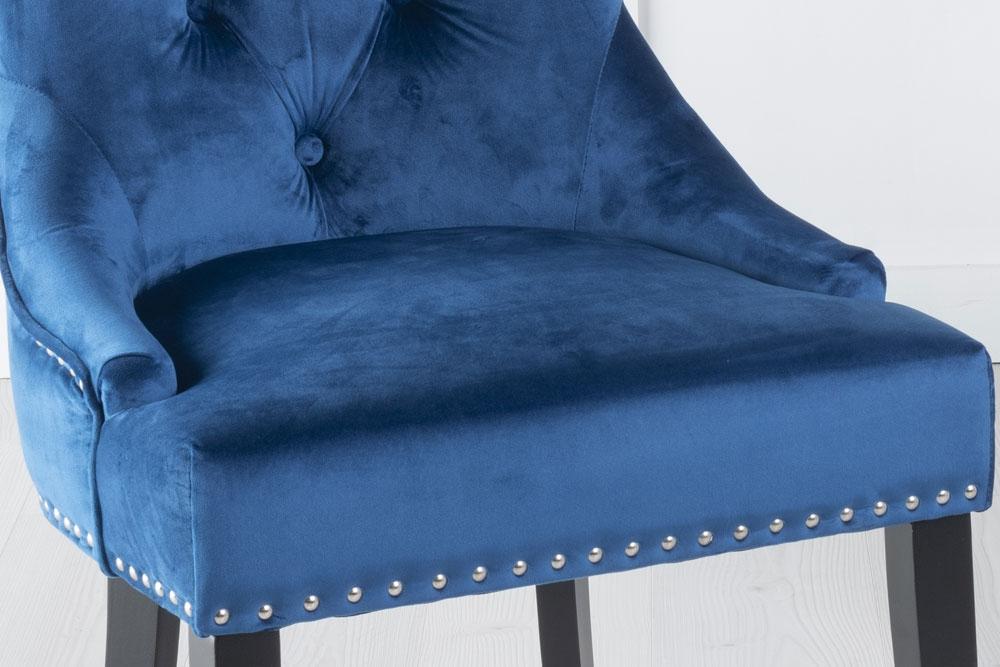 Blue Velvet Knockerback Ring Dining Chair