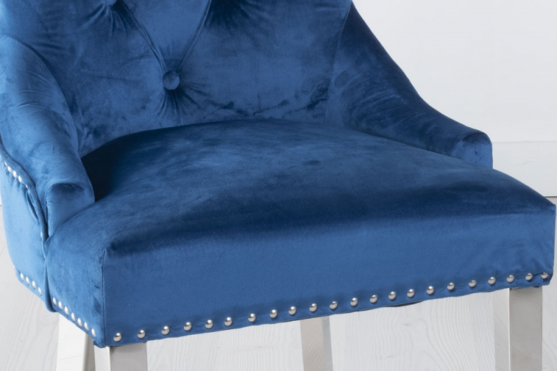 Blue Velvet Knockerback Ring Dining Chair with Chrome Legs