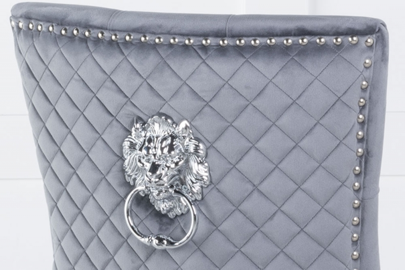 Grey Velvet Cross Stitched Lion Head Ring Back Dining Chair with Chrome Legs
