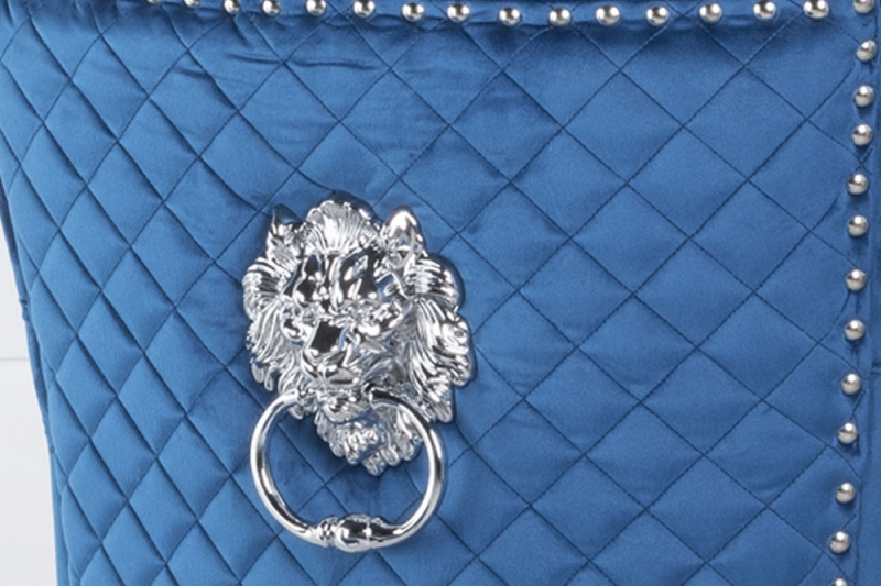 Blue Velvet Cross Stitched Lion Head Ring Back Dining Chair with Chrome Legs