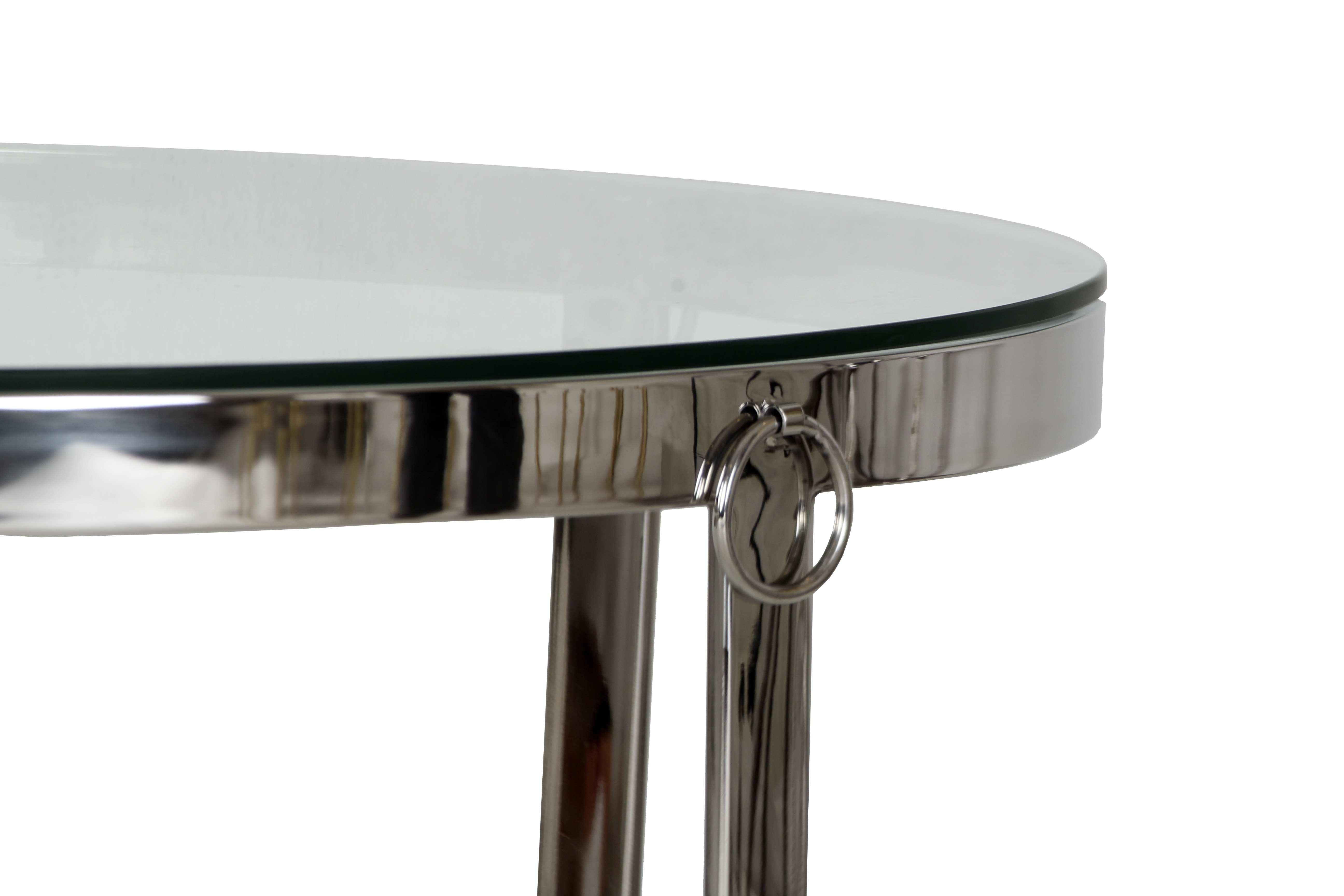 Aula Round Stainless Steel Chrome and Glass Coffee Table