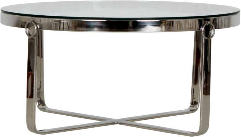 Aula Glass and Chrome Round Coffee Table