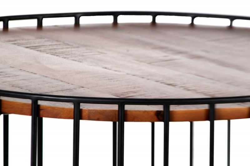 Cage Wood and Metal Round Coffee Table
