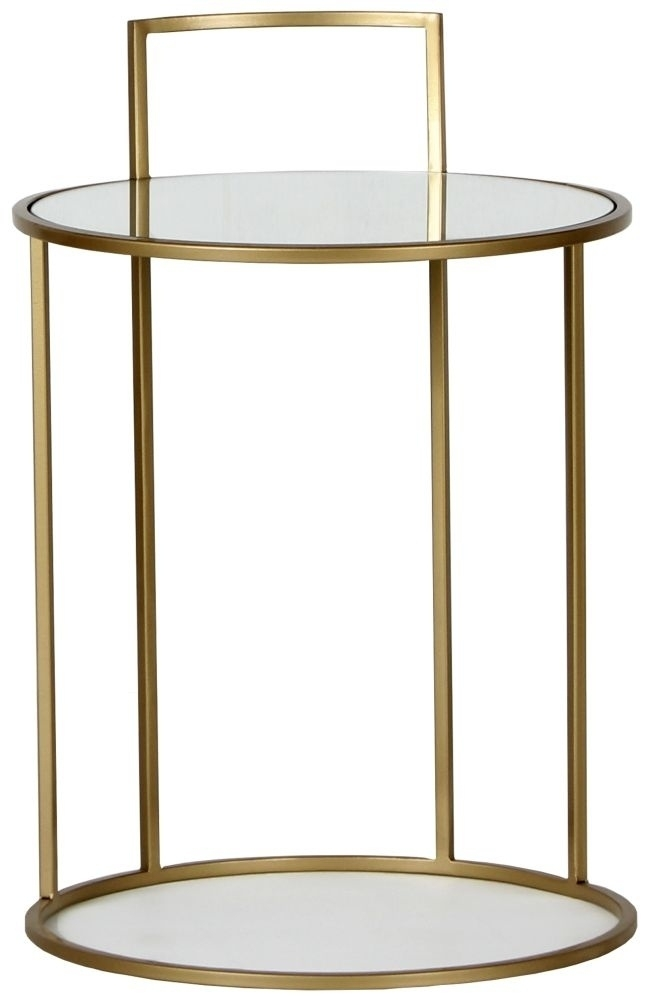 Torrance Gold Side Table - Round Mirrored Top