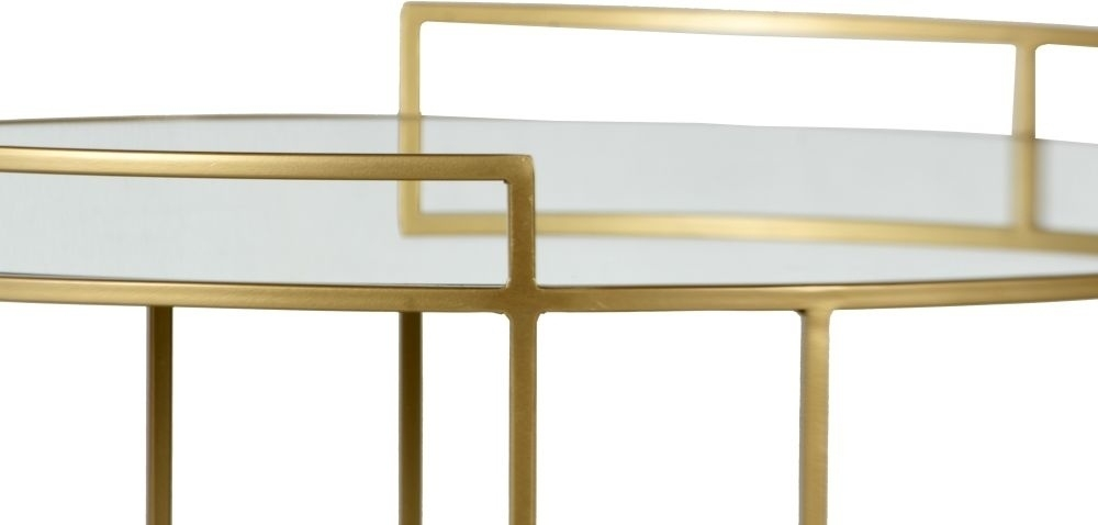 Torrance Gold Coffee Table - Round Mirrored Top