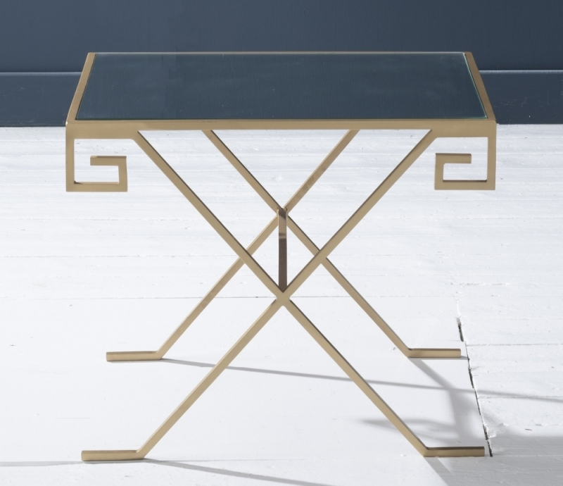 Roma Gold Mirrored Top Side Table