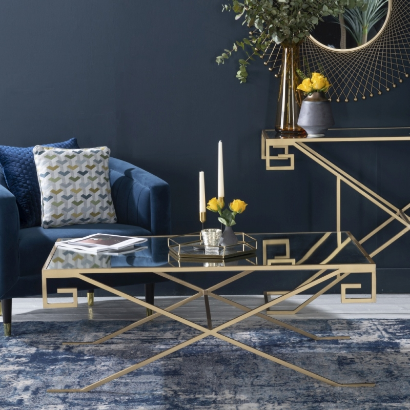 Roma Gold Mirrored Top Console Table