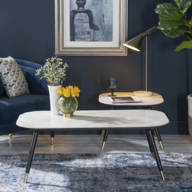 Scandi White Marble Side Table