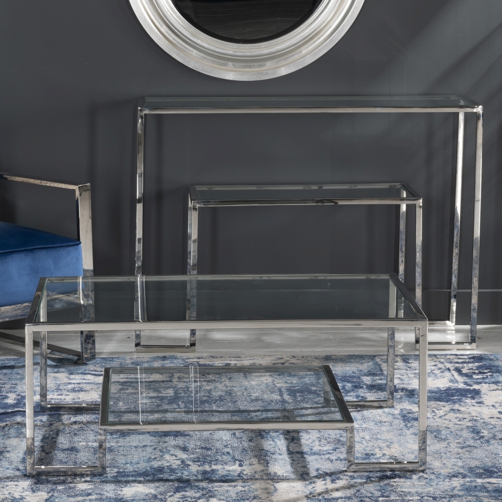 Knightsbridge Glass and Chrome Console Table