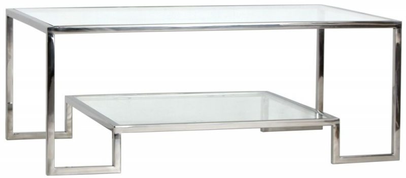 Knightsbridge Glass and Chrome Square Coffee Table